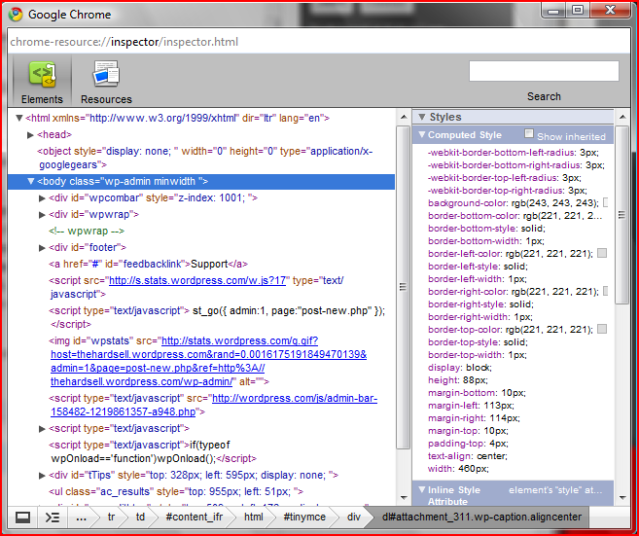 The inspector in Google Chrome - looking at my WordPress page.